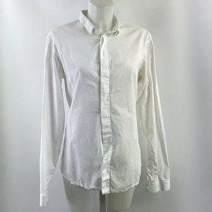 Dior White Button Down Long Sleeve Top Size Medium